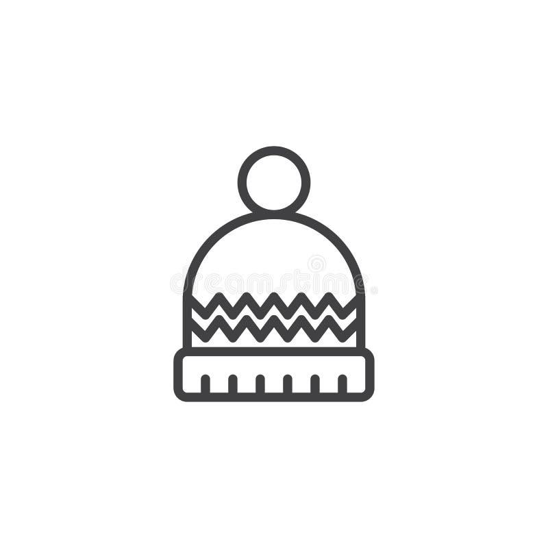 Ícone do esboço do chapéu do inverno ilustração royalty free