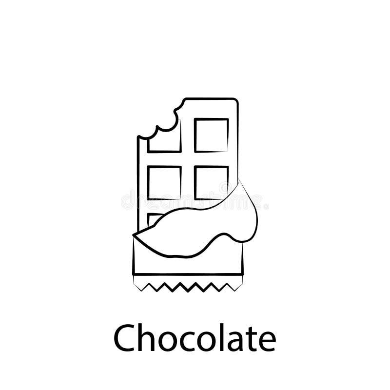 ?cone do esbo?o do chocolate do fast food Elemento do ?cone da ilustra??o do alimento Os sinais e os s?mbolos podem ser usados pa ilustração royalty free