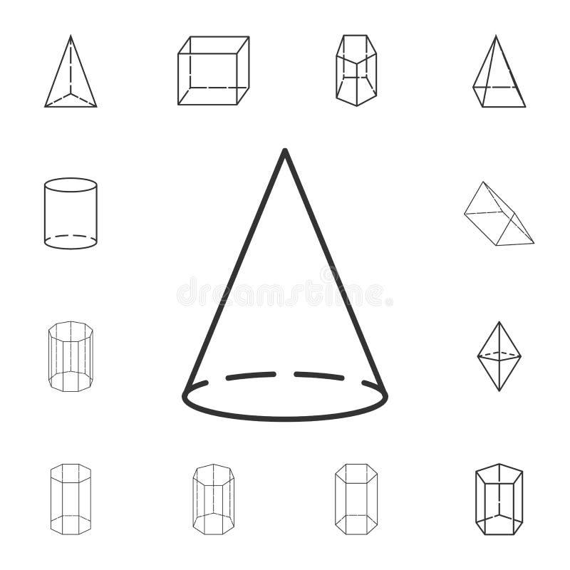 ícone do esboço do cone Grupo detalhado de figura geométrica Projeto gráfico superior Um dos ícones da coleção para Web site, des ilustração royalty free