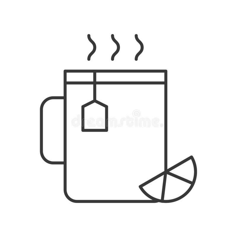 Ícone do esboço do copo de chá do limão, do alimento e da bebida ilustração stock