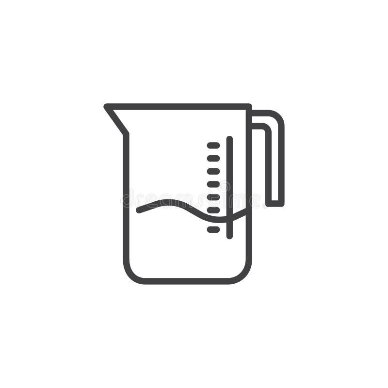 Ícone do esboço do copo de medição ilustração royalty free