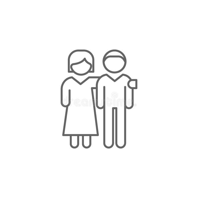 ícone do esboço do coração das mãos do respeito Elementos da linha ícone da amizade Os sinais, os símbolos e os vetores podem ser ilustração stock