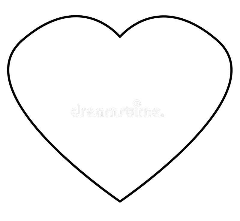 Ícone do esboço do coração no fundo branco Estilo liso outlin do coração ilustração stock