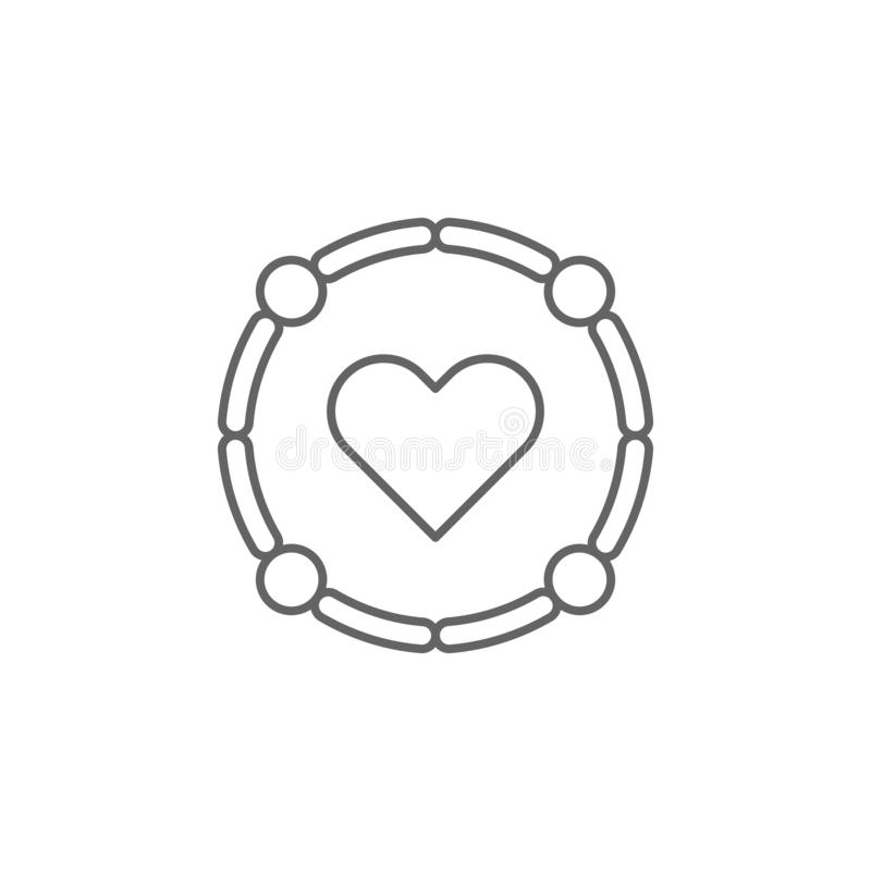 ícone do esboço do coração do símbolo da amizade Elementos da linha ícone da amizade Os sinais, os símbolos e os vetores podem se ilustração stock