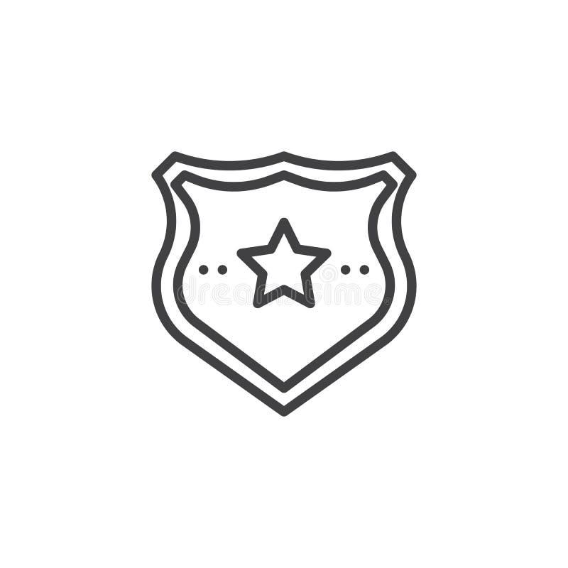 Ícone do esboço do crachá da polícia ilustração stock