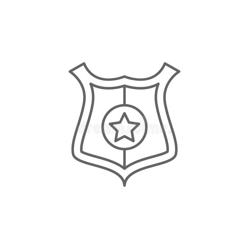 Ícone do esboço do crachá da polícia de justiça Elementos da linha ícone da ilustração da lei Os sinais, os símbolos e os vetores ilustração royalty free