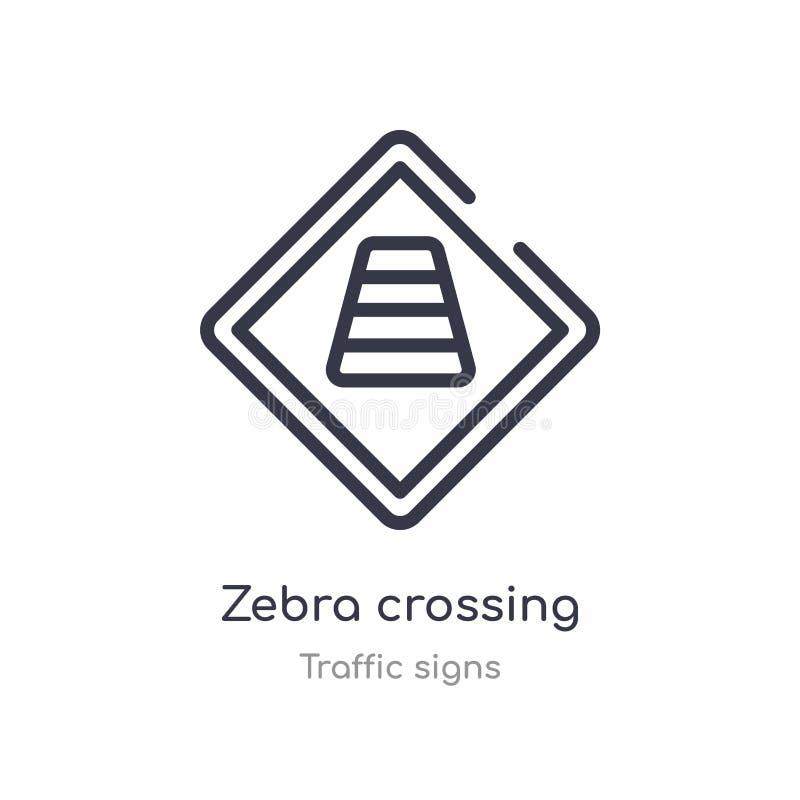 ícone do esboço do cruzamento de zebra linha isolada ilustra??o do vetor da cole??o dos sinais de tr?fego cruzamento de zebra fin ilustração stock
