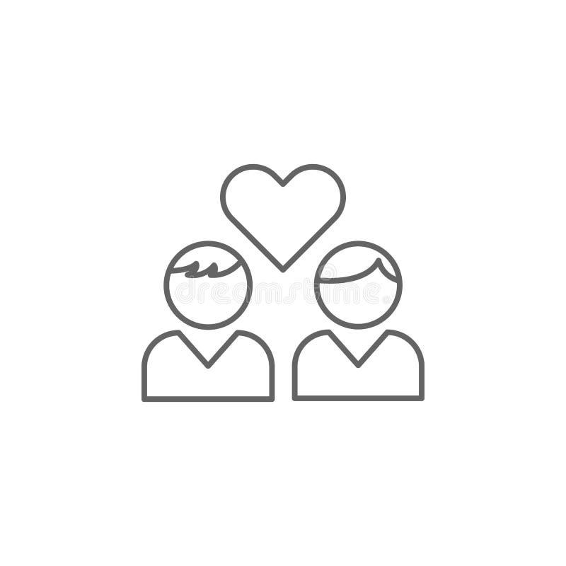 ícone do esboço da amizade do amor Elementos da linha ícone da amizade Os sinais, os símbolos e os vetores podem ser usados para  ilustração royalty free