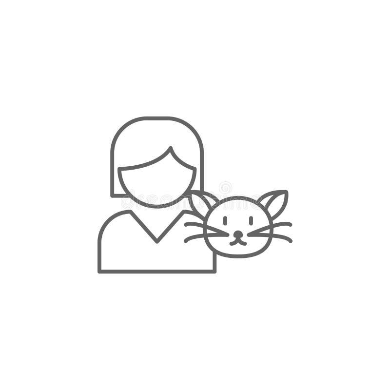 ícone do esboço da amizade do gato da menina Elementos da linha ícone da amizade Os sinais, os símbolos e os vetores podem ser us ilustração royalty free