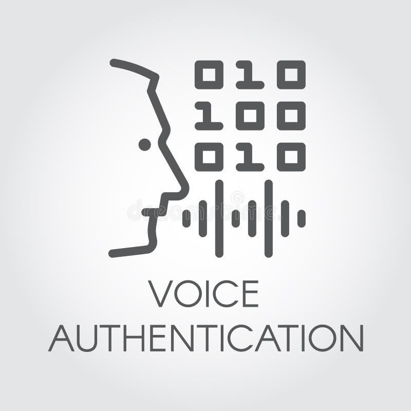Ícone do esboço da autenticação da voz Perfil da cabeça do homem, do soundwave e do controle do código Tecnologia da identificaçã ilustração stock