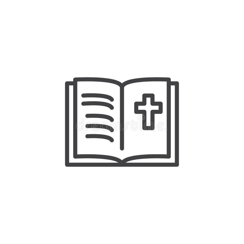 Ícone do esboço da Bíblia Sagrada ilustração stock