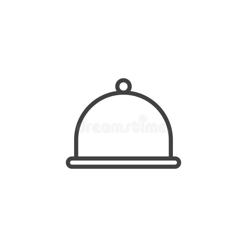 Ícone do esboço da bandeja do alimento do restaurante do hotel ilustração do vetor