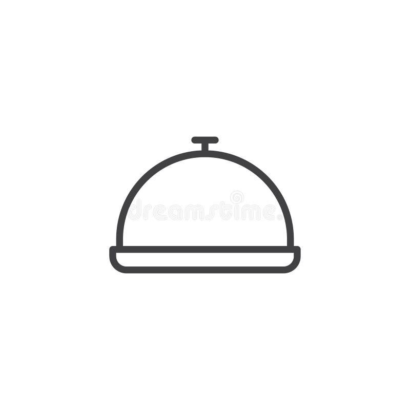 Ícone do esboço da bandeja do alimento do restaurante do hotel ilustração royalty free