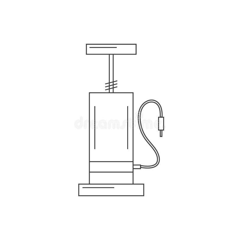 Ícone do esboço da bomba de bicicleta isolado no branco ilustração do vetor