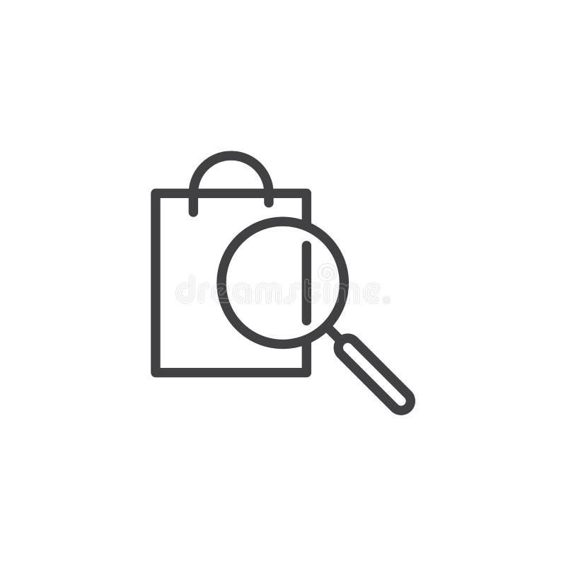 Ícone do esboço da busca de produto ilustração do vetor