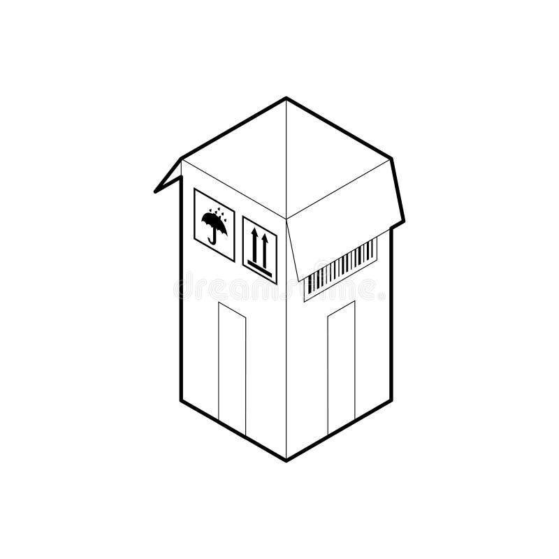 Ícone do esboço da caixa de cartão Vetor isométrico do esboço isolado no fundo branco ilustração stock