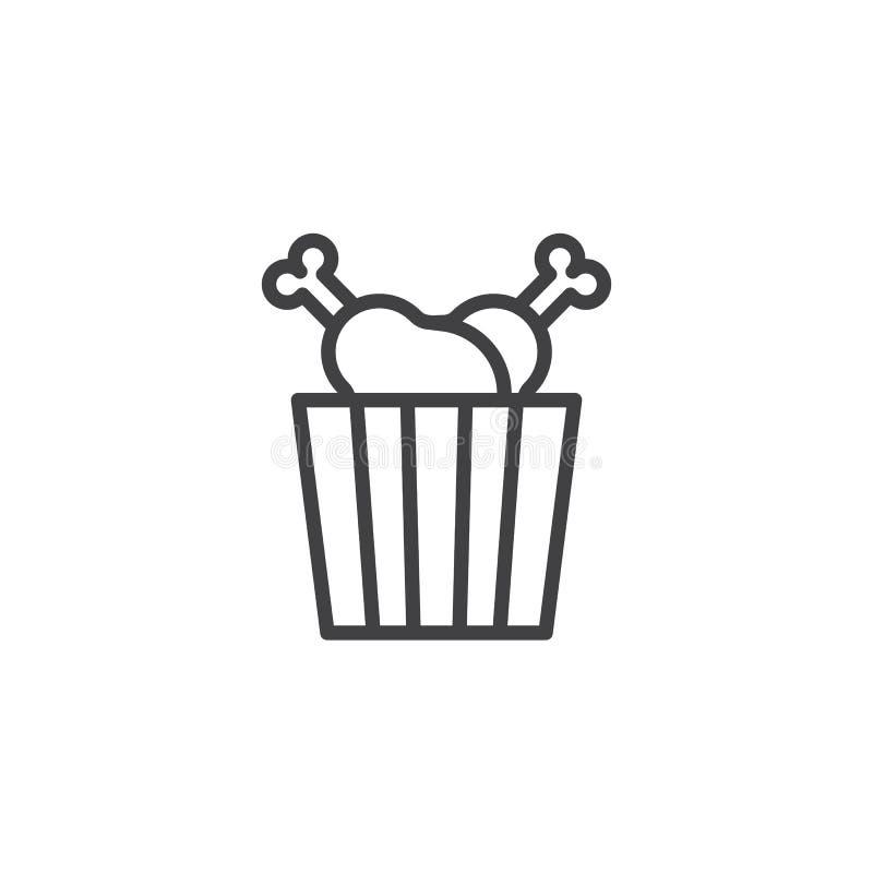 Ícone do esboço da caixa dos pilões de frango frito ilustração do vetor