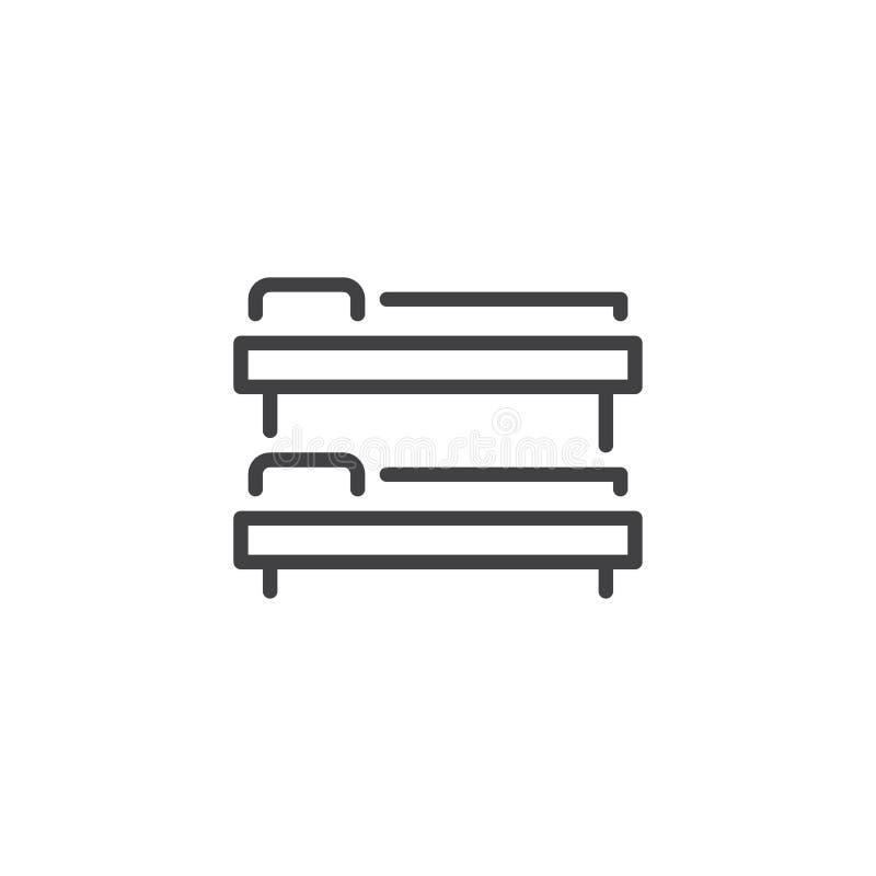 Ícone do esboço da cama de beliche ilustração royalty free