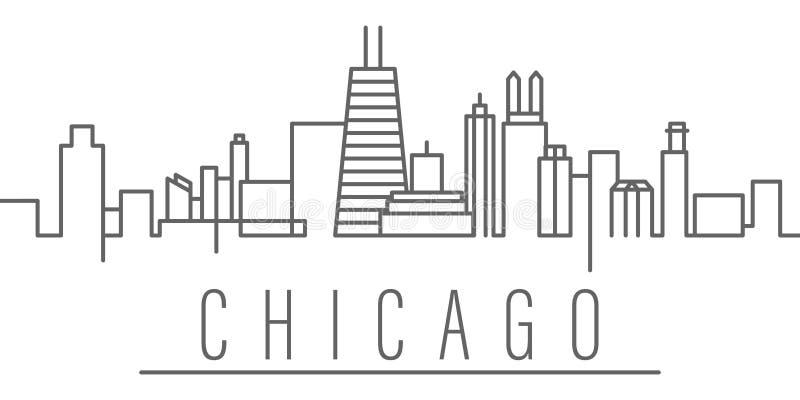 ?cone do esbo?o da cidade de Chicago Elementos do ?cone da ilustra??o das cidades e dos pa?ses r ilustração do vetor