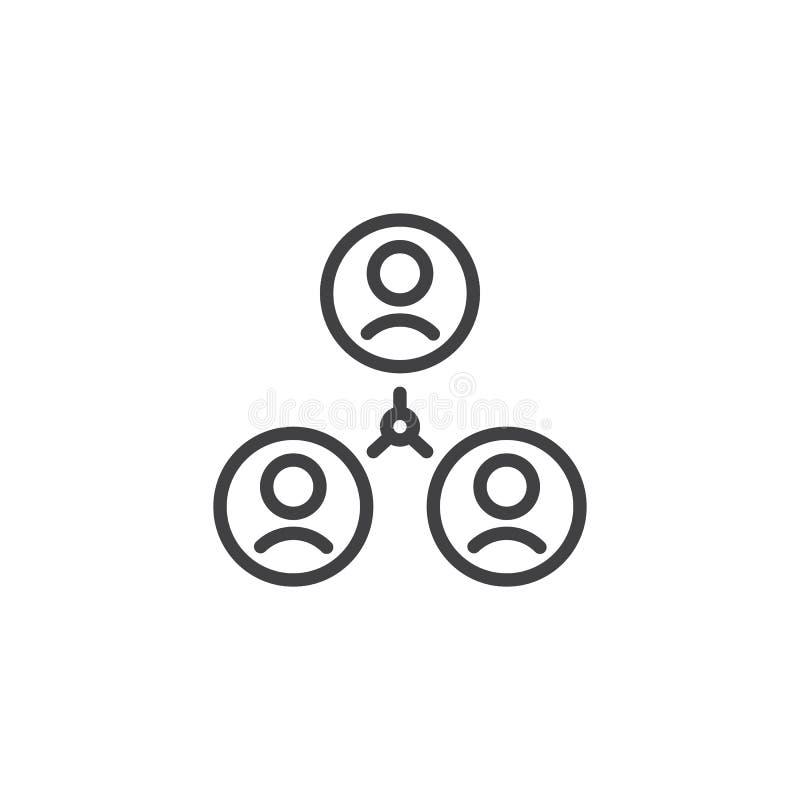 Ícone do esboço da conexão do grupo de utilizadores ilustração do vetor