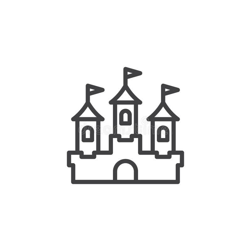 Ícone do esboço da construção do castelo ilustração do vetor