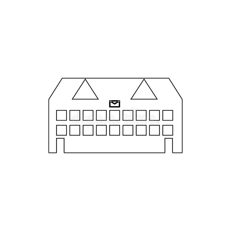 ícone do esboço da construção da estação de correios Elementos do ?cone da ilustra??o das constru??es r ilustração stock