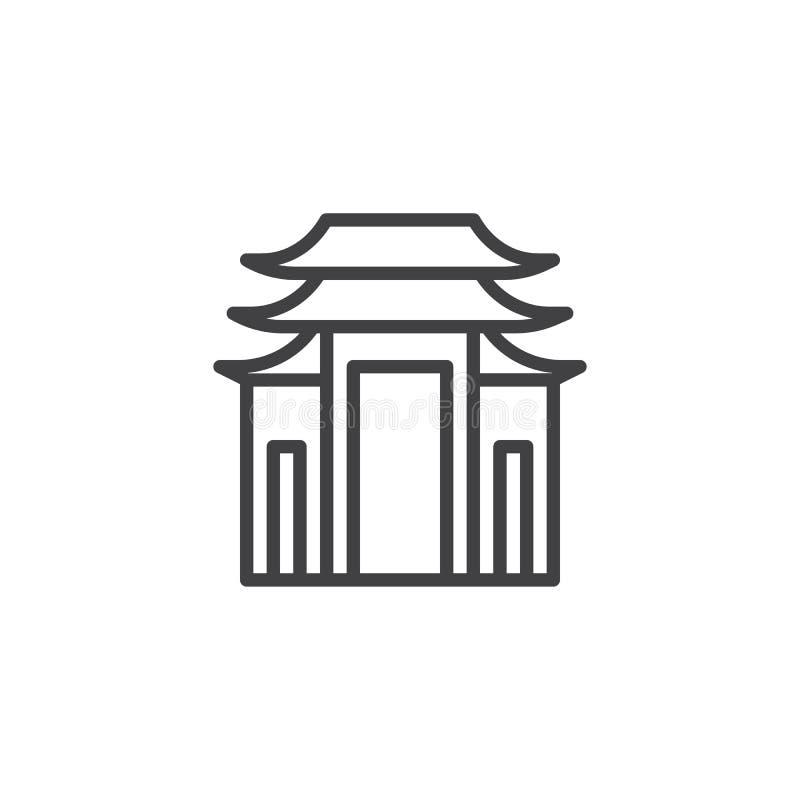 Ícone do esboço da construção do pagode ilustração stock