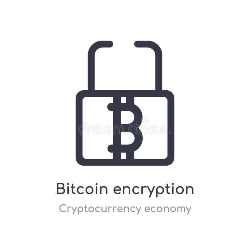 ícone do esboço da criptografia do bitcoin linha isolada ilustra??o do vetor da cole??o da economia do cryptocurrency curso fino  ilustração stock