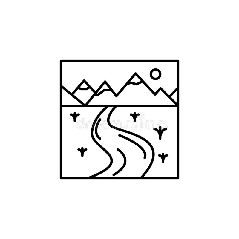 ícone do esboço da curva Elemento do ícone do esboço da paisagem para apps móveis do conceito e da Web A linha fina ícone do ícon ilustração royalty free