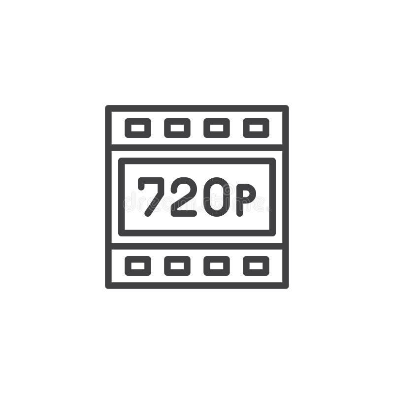 ícone do esboço da definição de 720p HD ilustração do vetor