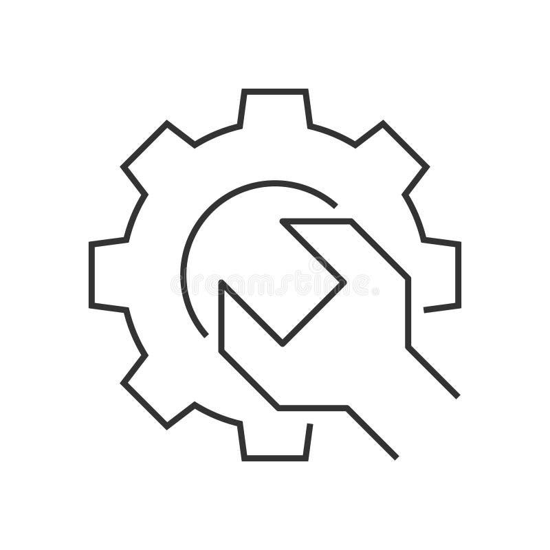 Ícone do esboço da engrenagem da chave ilustração royalty free
