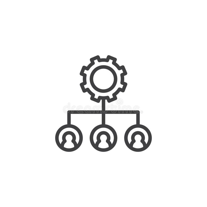 Ícone do esboço da engrenagem da estrutura hierárquica ilustração stock