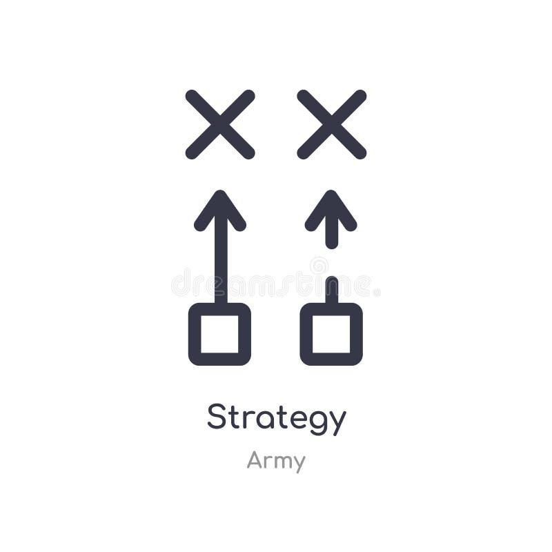 ícone do esboço da estratégia linha isolada ilustra??o do vetor da cole??o do ex?rcito ícone fino editável da estratégia do curso ilustração do vetor