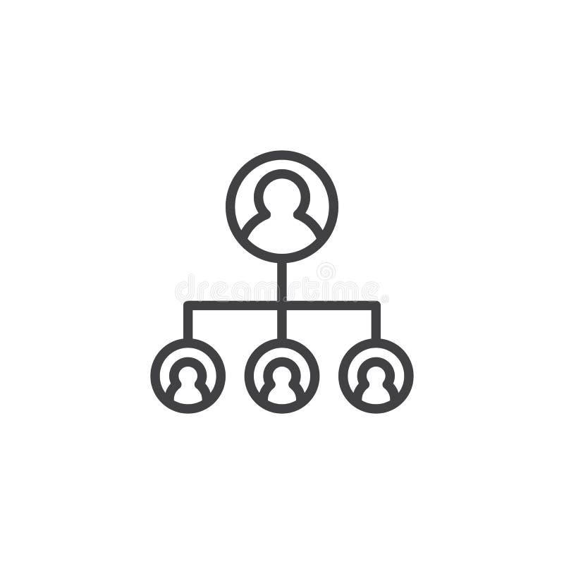 Ícone do esboço da estrutura hierárquica ilustração stock