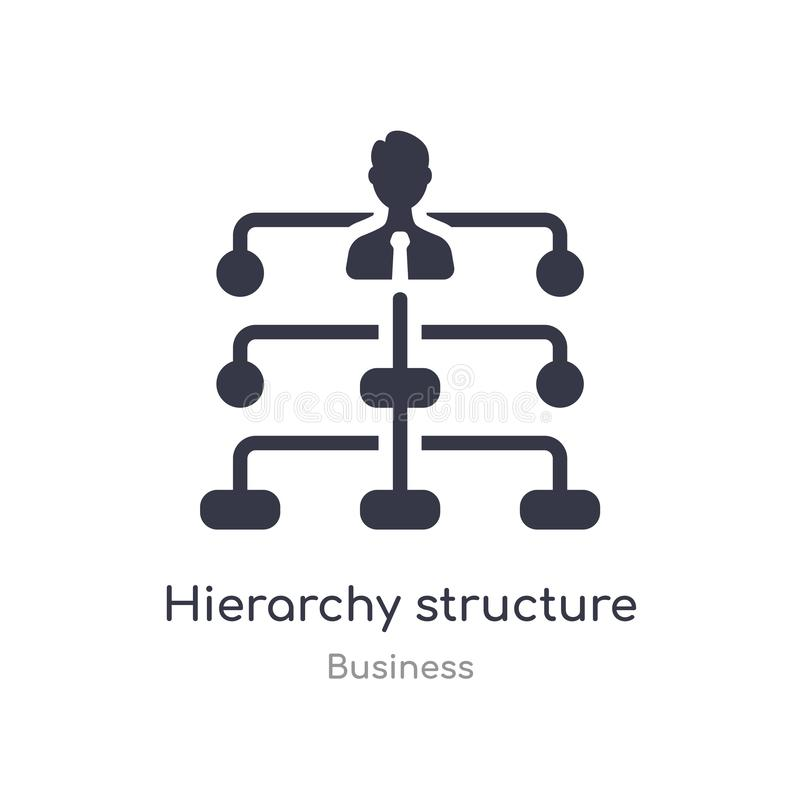 ícone do esboço da estrutura da hierarquia linha isolada ilustra??o do vetor da cole??o do neg?cio hierarquia fina editável do cu ilustração royalty free