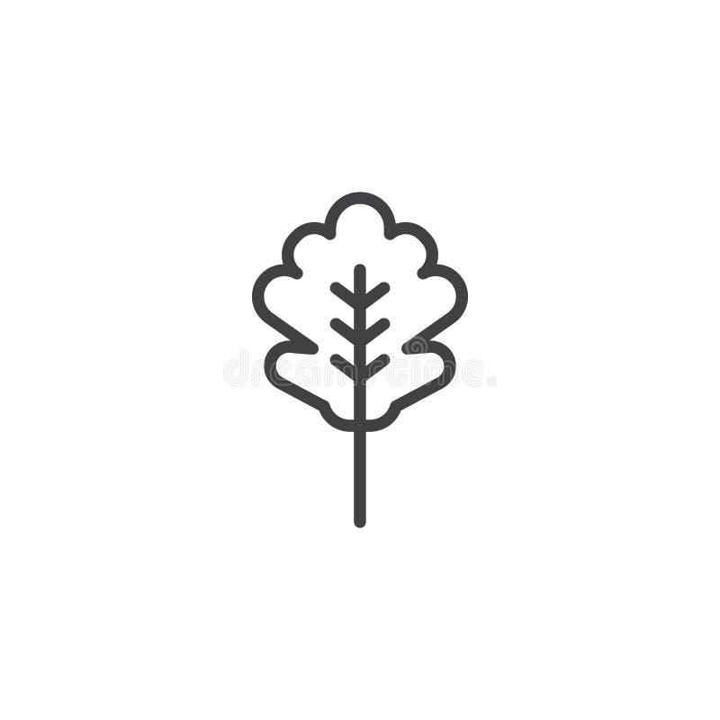 Ícone do esboço da folha do carvalho ilustração do vetor