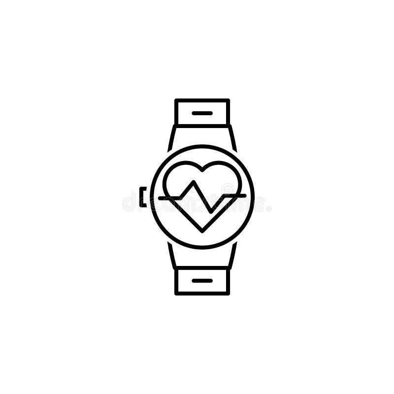 ícone do esboço da frequência cardíaca Elementos do ícone da ilustração da dieta e da nutrição Sinais e ?cone para Web site, Web  ilustração royalty free