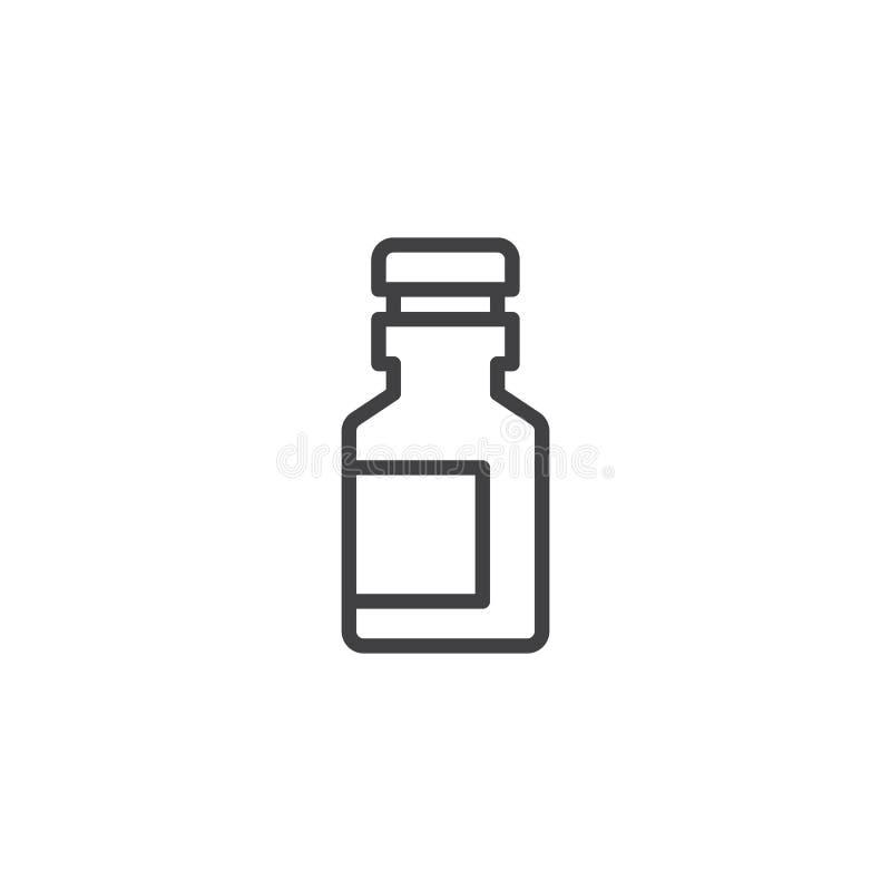 Ícone do esboço da garrafa da medicina ilustração stock