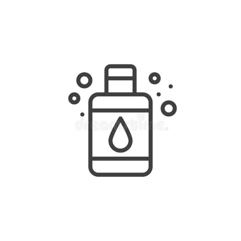 Ícone do esboço da garrafa do sabão líquido ilustração stock