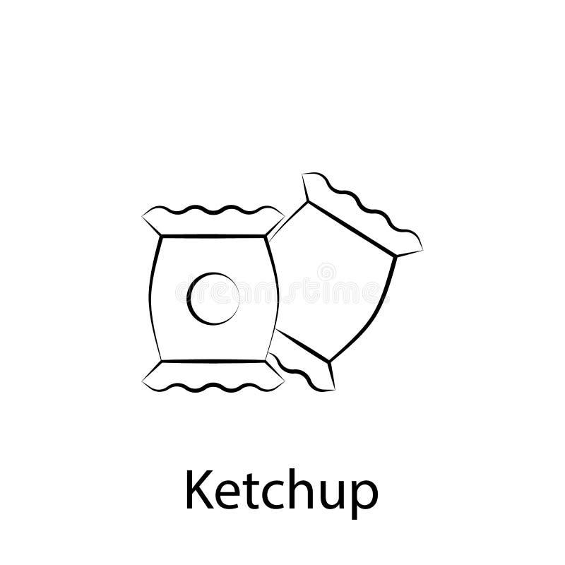 ?cone do esbo?o da ketchup do fast food Elemento do ?cone da ilustra??o do alimento Os sinais e os s?mbolos podem ser usados para ilustração stock