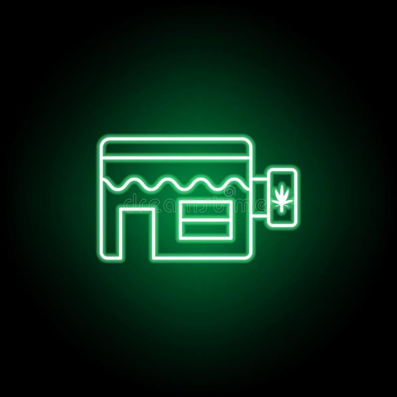 Ícone do esboço da loja da marijuana no estilo de néon Pode ser usado para a Web, logotipo, app m?vel, UI, UX ilustração stock