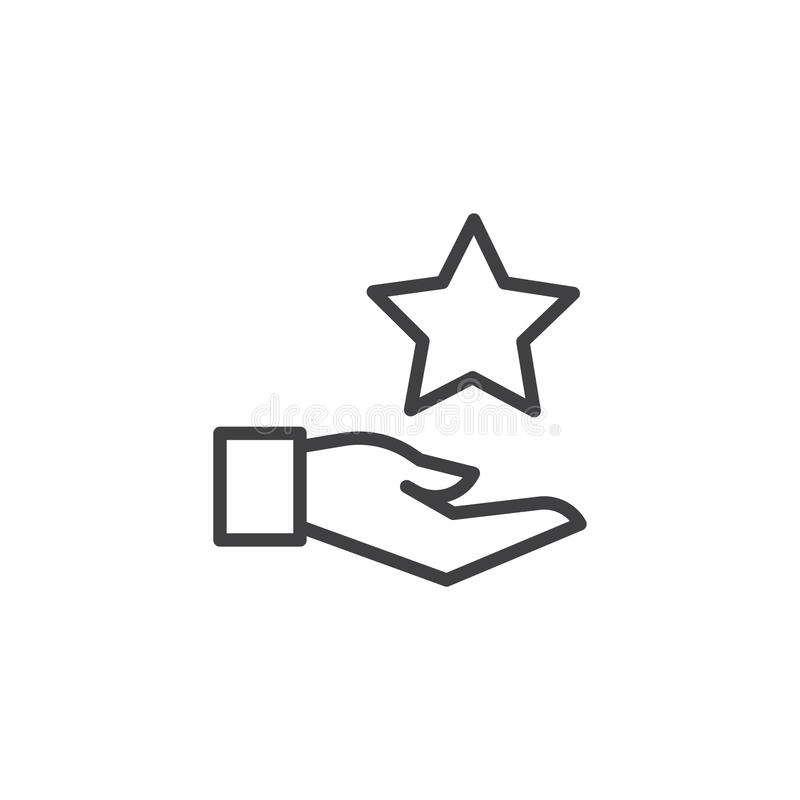 Ícone do esboço da mão e da estrela ilustração do vetor