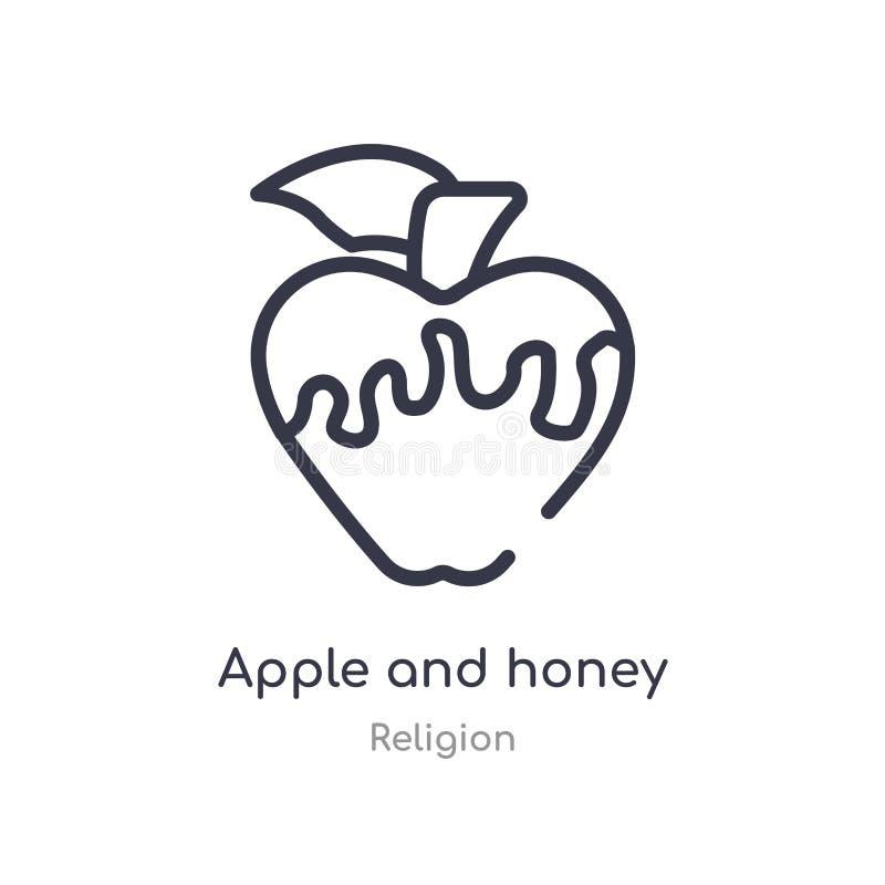 ícone do esboço da maçã e do mel linha isolada ilustra??o do vetor da cole??o da religi?o maçã fina editável e mel do curso ilustração do vetor