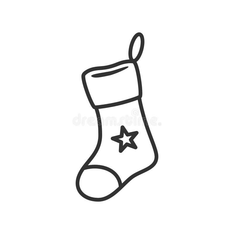 Ícone do esboço da meia do Natal no branco ilustração royalty free