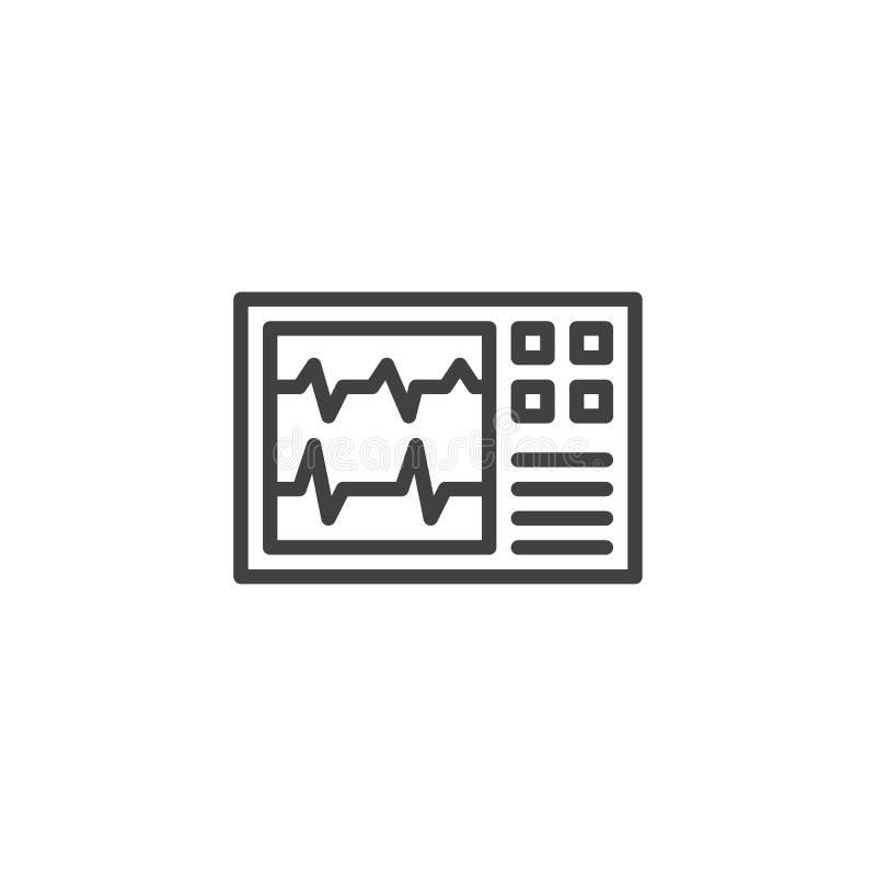 Ícone do esboço da monitoração da pulsação do coração ilustração royalty free