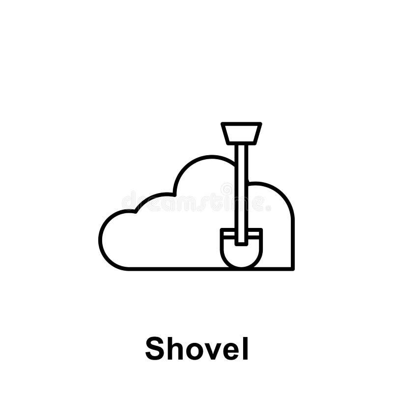 Ícone do esboço da pá Elemento do ícone da ilustração do Dia do Trabalhador Os sinais e os símbolos podem ser usados para a Web,  ilustração stock