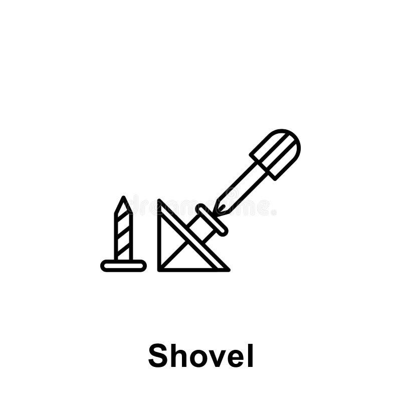 Ícone do esboço da pá Elemento do ícone da ilustração do Dia do Trabalhador Os sinais e os símbolos podem ser usados para a Web,  ilustração royalty free
