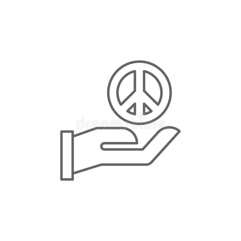Ícone do esboço da paz de justiça Elementos da linha ícone da ilustração da lei Os sinais, os símbolos e s podem ser usados para  ilustração royalty free