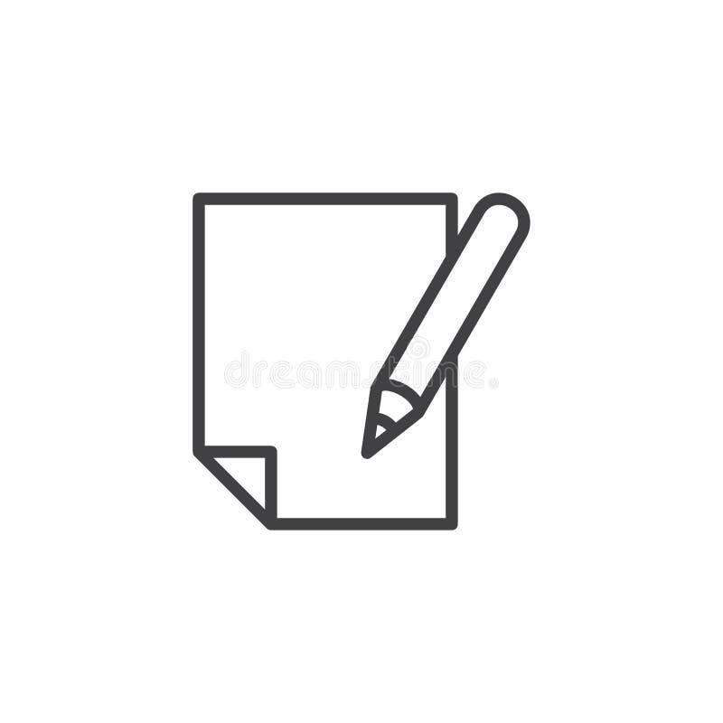 Ícone do esboço da pena e do papel ilustração stock