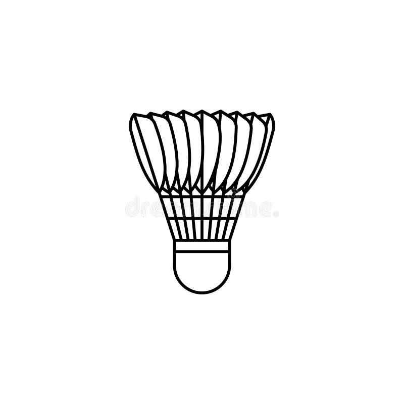 Ícone do esboço da peteca do badminton ilustração royalty free